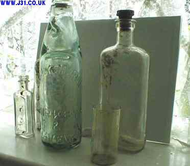 old bottles dredged up from the canal