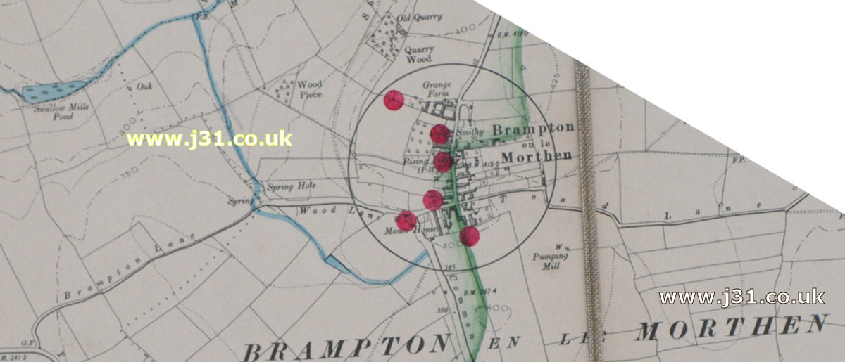 Brampton en le morthen map in 1905
