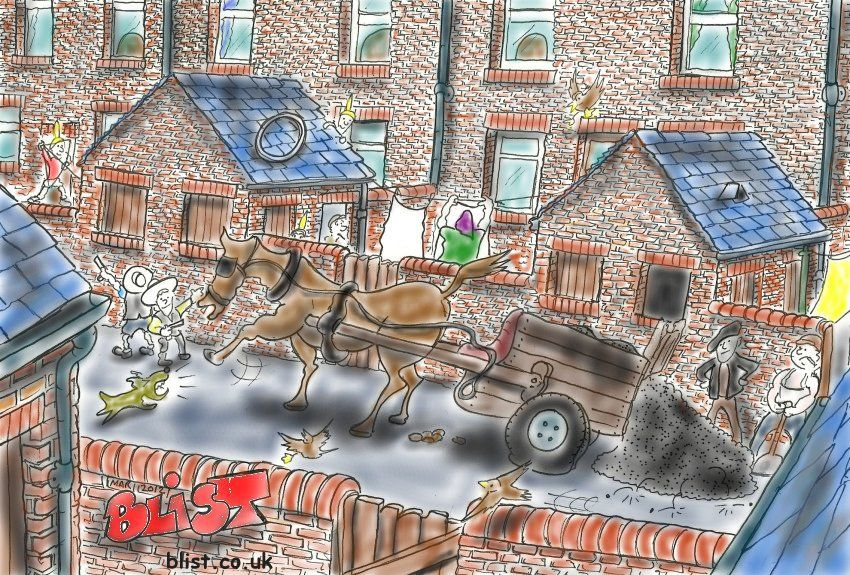 thurcroft coalman and horse drawing